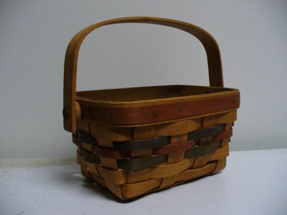 Authentic Longaberger Shades of Autumn Basket with Swing Handle