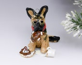 German Shepherd Dog Ornament Santas Cookies Porcelain