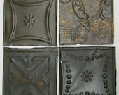 AUTHENTIC Tin Ceiling RUST 6x6 Set of 4 Crafts Art Tiles S 1234-13