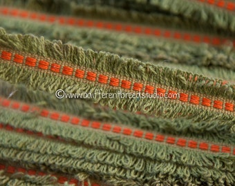 3 yards Fun Fringe - Vintage Trim New Old Stock 60s 70s Mod Avocado Green and Orange