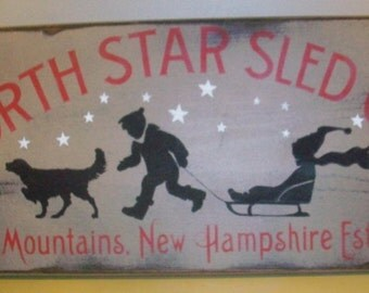 Primitive Grungy Wood  Christmas Sign North Star Sled Company