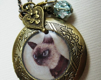 Cat Locket - Theo the Siamese art jewelry necklace, antique locket