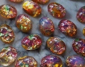 SALE 24 Old 8/6 Oval Japan Fire Opal Art Glass Harlequin Cabochon Unfoiled 6/8 mm Stone Flat Back Pink Green Amber Imitation Gemstone 4Q