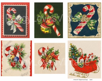 Candy Canes 1 Digital Collage from Vintage Christmas Greeting Cards -  Instant Download - Cut Outs