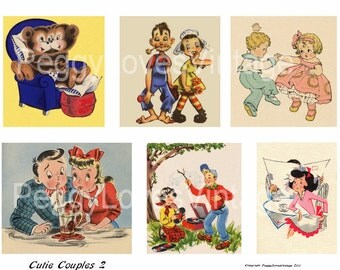 Cutie Couples 2 Digital Collage from Vintage Greeting Cards - Instant Download - Cut Outs