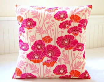 pink and orange poppies decorative pillow cover, cerise pink flowers leaves cushion cover 16 / 18 inch
