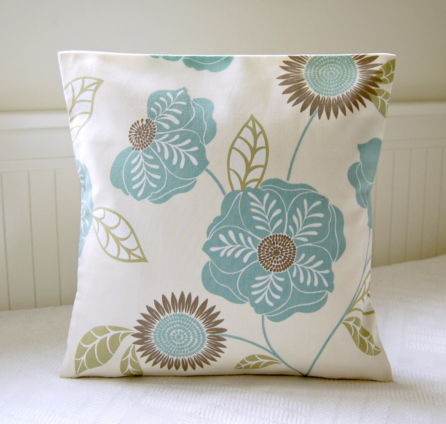 duck egg blue sage green taupe flowers and leaves pillow. Black Bedroom Furniture Sets. Home Design Ideas