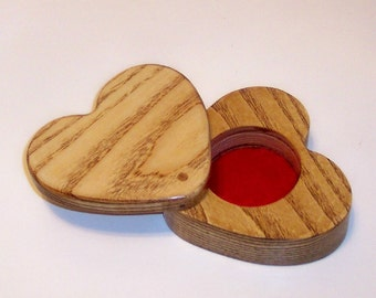 HEART Treasure Box, Treasure Chest, Keepsake box  Handcrafted from Ash Hardwood
