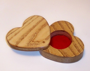 HEART Treasure Box, Treasure Chest, Keepsake box  Handcrafted from Ash Hardwood