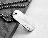 Mens Personalized Dog Tag Necklace  Initials, Coordinates, Names