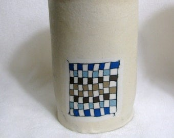 Handmade Colored Porcelain Short Checkerboard Cup  RKC135