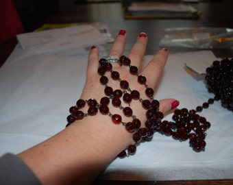 Three Feet Czechoslovakian 10mm Faceted Garnet Rosary Necklace Chain
