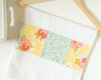 Kitchen Towel in Marguerite Yellow Floral and Blue Calico