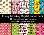 Funky Monkey Papers Digital Collage Sheets 8.5 by 11 Sheets Set of 9 Digital Papers- iNSTANT dOWNloAd