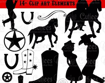 Cowboy Cowgirl Silhouette  Elements Digital Clipart Elements Commercial use for paper INSTANT DOWNLOAD