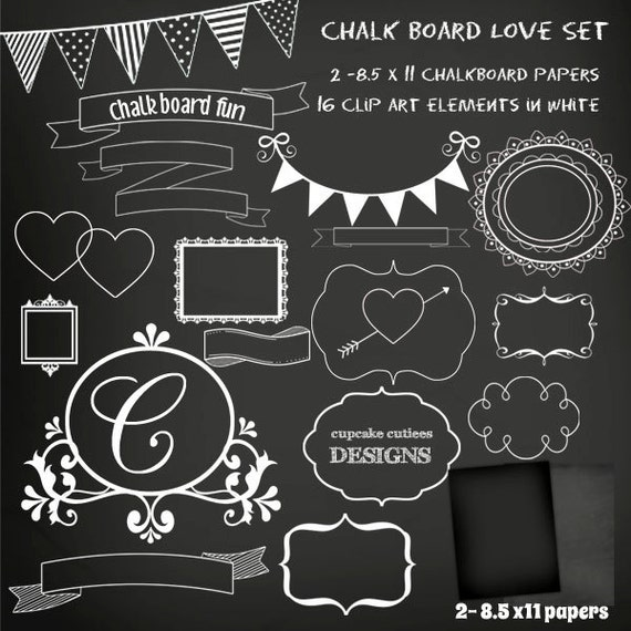 ChalkBoard Set Digital Clipart Elements and Papers Commercial use for ...