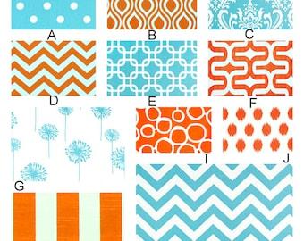 Aqua and Orange Crush - Custom Crib Bedding Set  YOU DESIGN