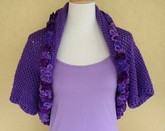 Crochet Shrug Bolero Lavender Purple Orchid Evening Prom Wrap with Ruffle Ribbon Edge