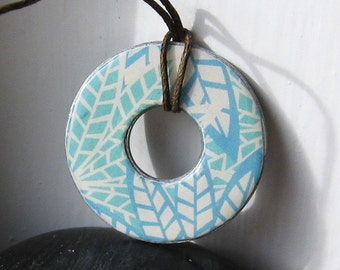Stunning Aqua Blue Abstract Art Upcycled Papers Washer Hardware Pendant Necklace