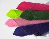 Wool Felt, Fruit Salad Color Story, Felt Sheets Set, 100% Wool, 8x12 Inch Sheets, Lavender Pink, Deep Purple, Lemon-Lime, Magenta, Forest