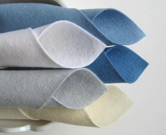 100% Wool, Felt Fabric, Five Piece Set, Glacier Color Story, Baby Blue, Ecru, White, Silver Grey, Wedgwood Blue
