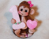 MONKEY CAKE TOPPER:  1st first 1 birthday cake topper Christmas ornament  polymer clay  personalized childrens gift animal