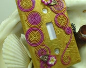 Golden Fuschia Swirls and Flowers Polymer Clay Light Switch Plate Cover