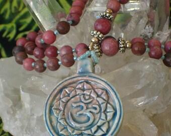 Rhodonite Pink Rosary Necklace Raku Om
