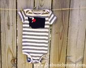 Washington (Custom City) Love Baby Boy Appliqué Long Sleeve Bodysuit Onesie (6 month size)