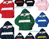 Monogrammed Windbreaker - Rugby Stripe Personalized