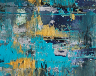 SALE - blue & gold .  mixed media collage on wood panel
