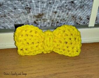 Yellow Crochet Bowtie