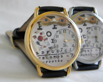 Optometrist Watch with vintage glasses sign, eye charts and wire glasses