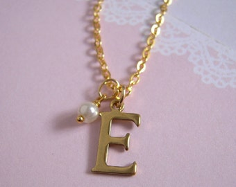 Brass Initial Necklace, Tiny Glass Pearl Gold Necklace, Letter Charm Personalized Jewelry