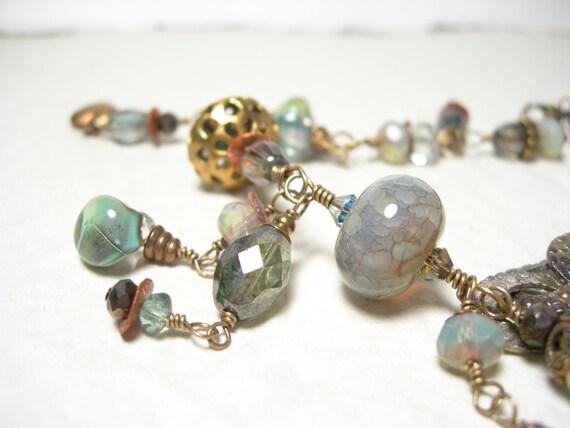 Custom Order for Melissa, Sage blue bracelet lampwork whiskey quartz pamelasjewelry artisan copper