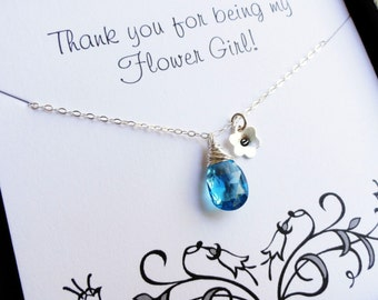 Flower girl thank you gift, Flower girl necklace, Personalized flower girl jewelry, Child necklace, junior bridesmaids