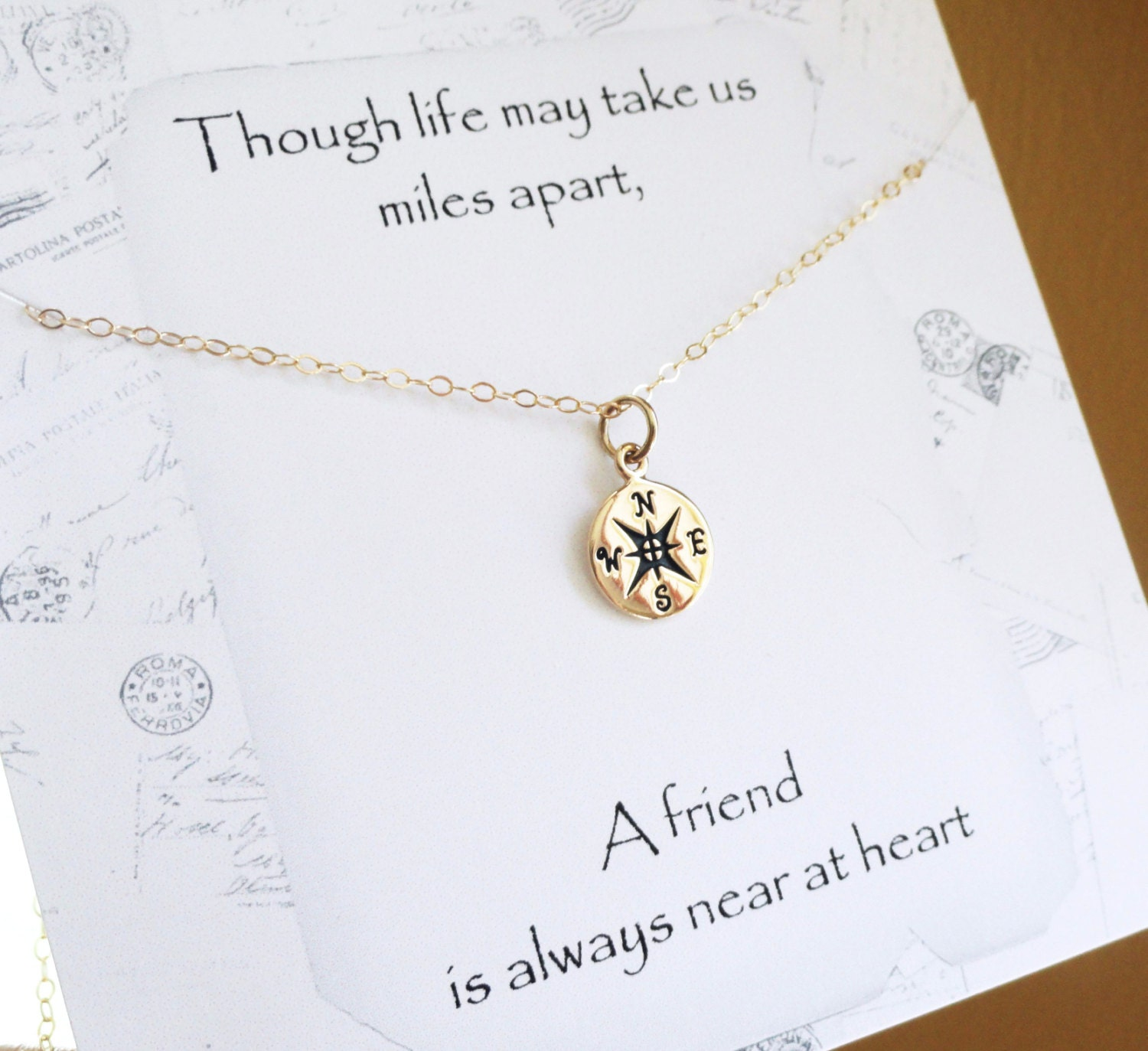Quotes About Best Friends Gift : Compass necklace friendship with message by