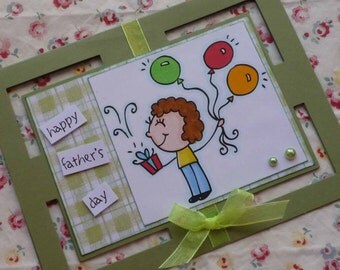 HAPPY FATHER'S DAY - Handmade blank greeting card with little boy and baloons