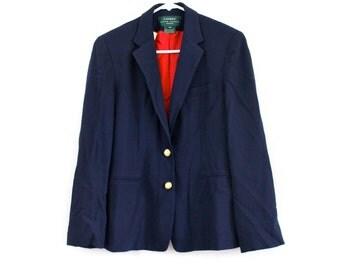 Ralph Lauren Navy Blue Fitted Nautical Prep Secretary Blazer Jacket . 6P . XS . S . GT . No.96.2.20.13