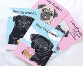 Cupcake Pug Valentines - Eco-friendly Set of 4