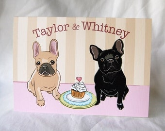 French Bulldogs in Love Greeting Card - Customized with Your Names