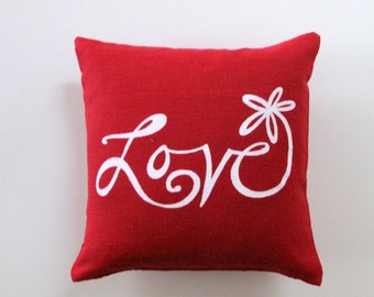 Pillow Cover Cushion Cover - Love Flower - 12 x 12 inches - Choose your fabric and ink color - Accent Pillow