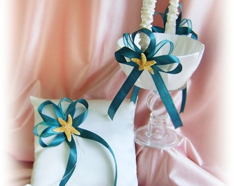 Starfish Beach Wedding Flower Girl Basket and Ring Bearer pillow Set, Teal Wedding basket and pillow