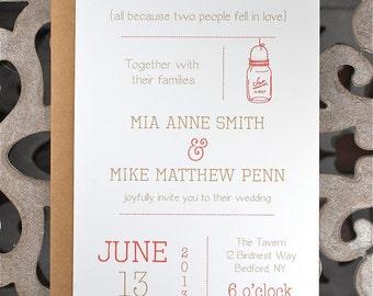 Wedding Invitations . Wedding Invites . Rustic Wedding Invitations . Mason Jar Wedding Invitations - Rustic Mason Jar
