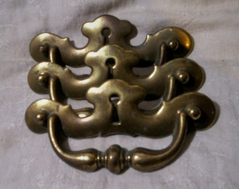 Chippendale Pulls Handles Key Hole Fixed Bail Brass Plated Hardware old vintage antique