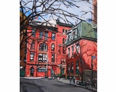 "Fine Art Print 8x10, ""Red New York"", West Greenwich Village red gray Cityscape Painting by Gwen Meyerson"