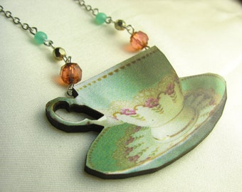 Tea cup necklace ... vintage print tea cup wood pendant on silver chain with beadery ... time for tea