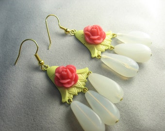 Chandelier earrings ... vintage yellow chandelier earrings with pink roses and opalite white glass drops ... southern belle