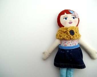 Cloth Doll, Red Hair, Yellow Cowl, READY to SHIP