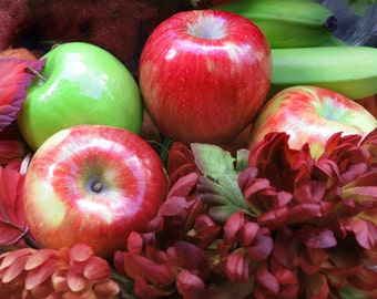 Apples and Mums Digital Photograph, Autumn Bounty, Red Green Apples, Green Bananas, Burgundy Mums